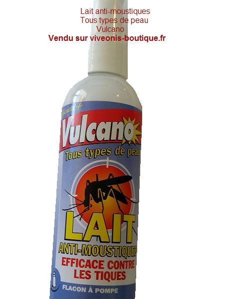 Lait anti-moustiques tous type de peau flacon à pompe 100ml Vulcano vendu sur viveonis-boutique.fr