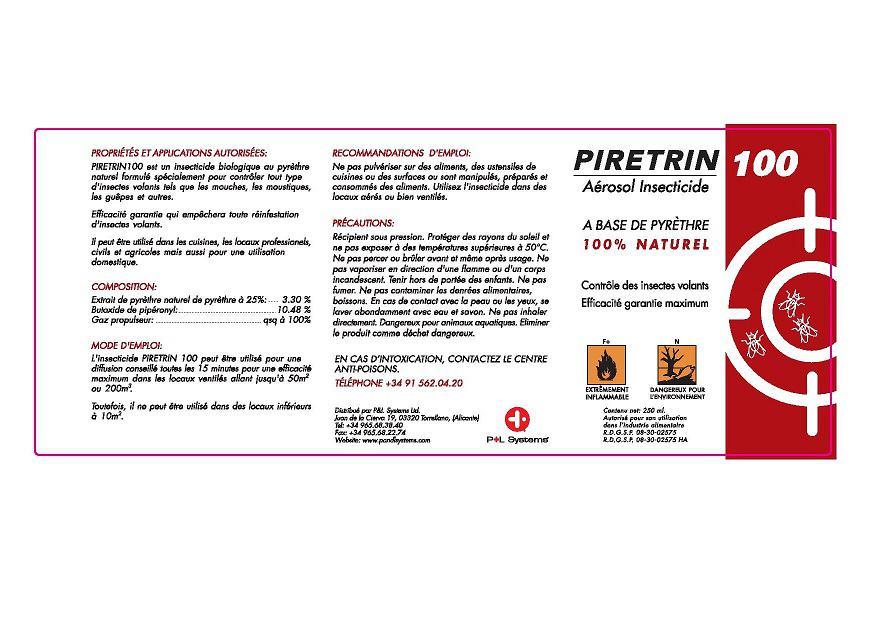 Mise en valeur de l'étiquette Piretrin100 insecticide Aerosol 250ml