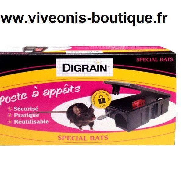 Poste à appâts SPECIAL RAT sécurisé pratique réutilisable Digrain