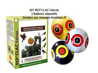 3 BALLONS répulsifs visuels REP'CLAC Falcon noir blanc jaune et leur emballage